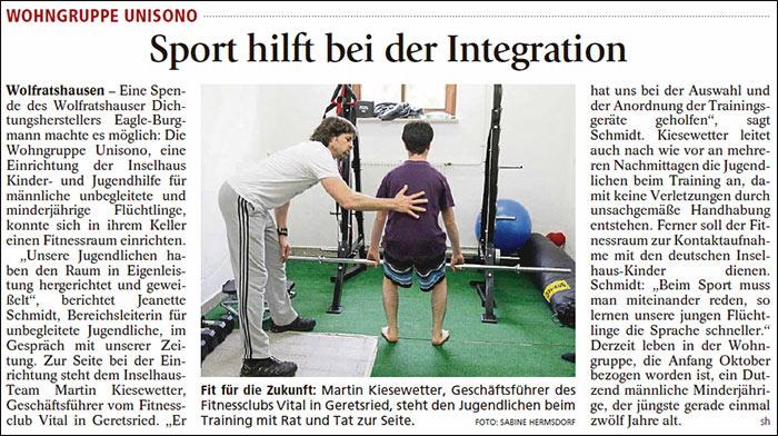 Sport hilft bei Integration - Isar-Loisachbote vom 06.06.16